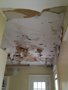 Water Damage On Ceiling From A Thunderstorm