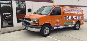 Mold and Water Damage Restoration Van Ready At Job Site
